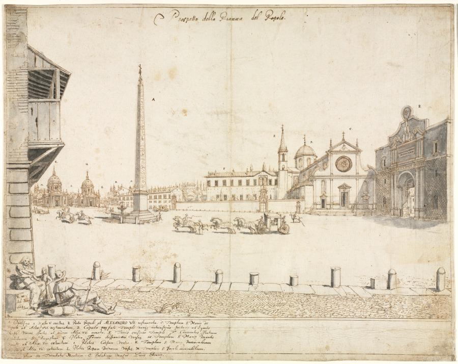 Eighteen Views of Rome: The Piazza del Popolo (recto)