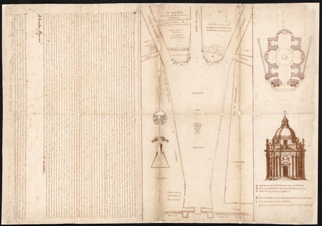 Plan of the piazza del Popolo and twin churches. 1661.