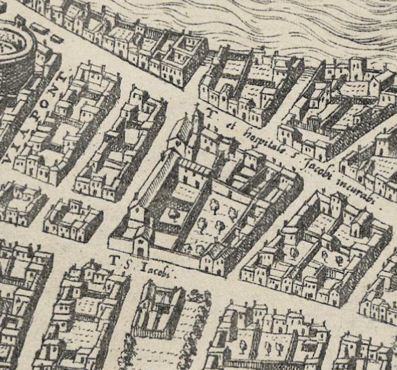 Detail from the 1577 map of Rome by du Perac-Lafrery.