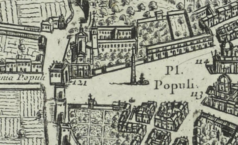 Piazza del Popolo detail from Giovanni Battista Falda's 1667 map.
