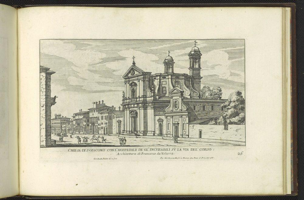 Print of San Giacomo on the via del Corso by Giovanni Battista Falda.
