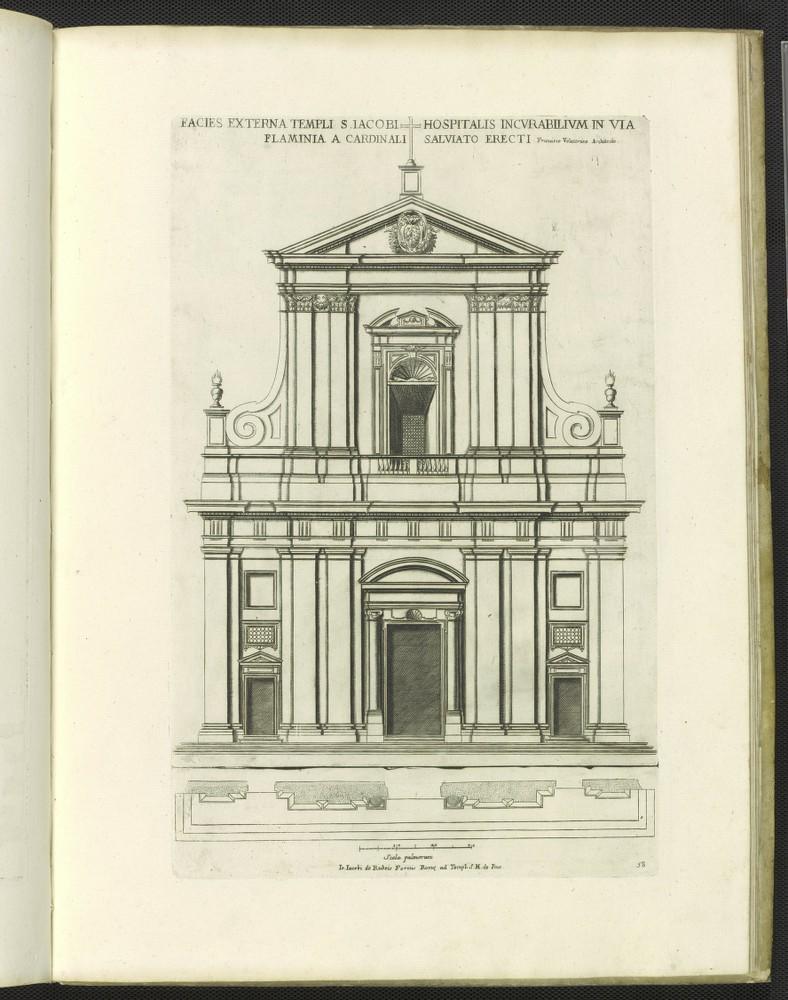 San Giacomo degli Incurabili, print of facade.