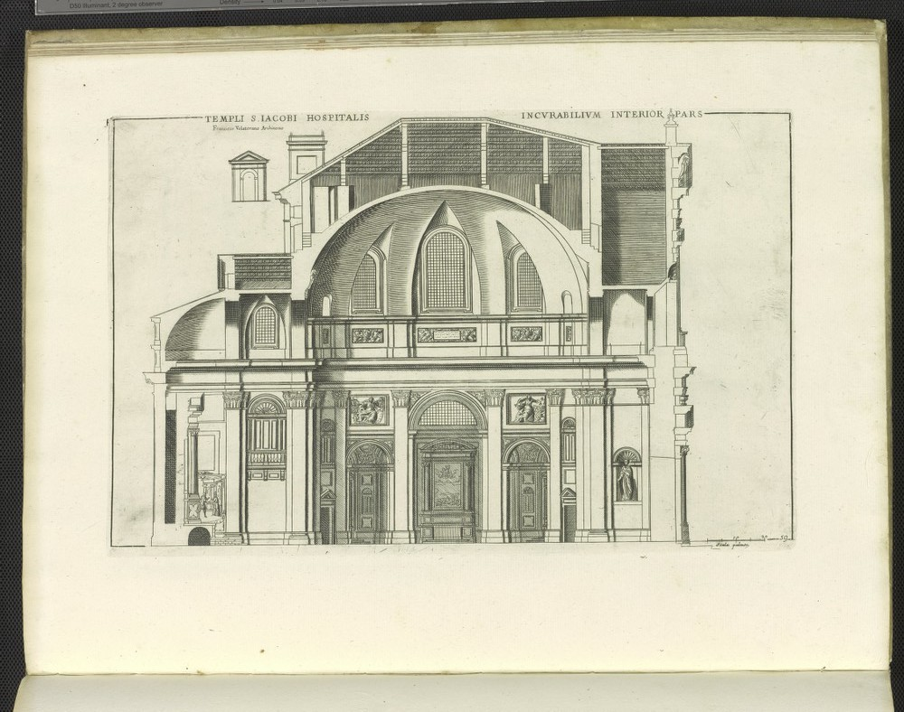 San Giacomo degli Incurabili, print of section.