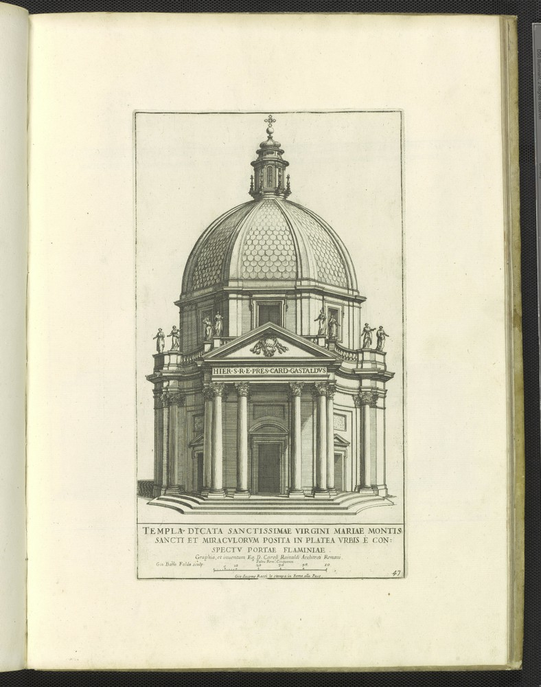 Print of the Chiesa di Santa Maria dei Miracoli and the Basilica di Santa Maria in Montesanto created by Giovanni Battista Falda.
