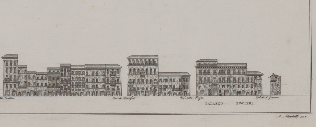 Detail in two parts of the etching by A. Moschetti, 1835 showing the western side of the Via del Corso. Part 1.