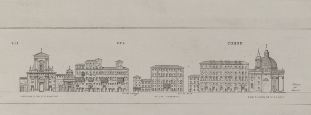 Detail in two parts of the etching by A. Moschetti, 1835 showing the western side of the Via del Corso. Part 2.