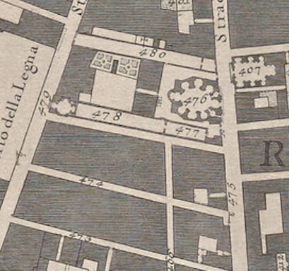 Detail of San Giacomo in Augusta from Nolli's 1748 map.