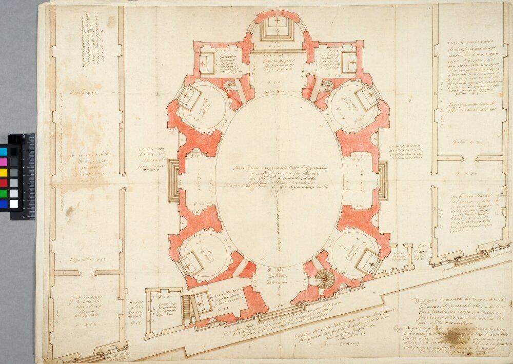 S. Giacomo degli Incurabili al Corso, Rome. Plan by Francesco da Volterra.