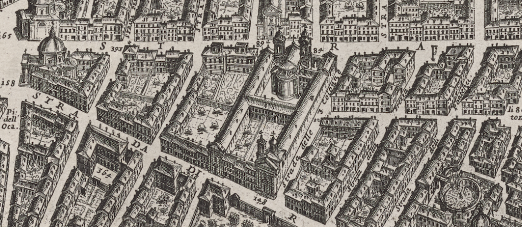 Detail of San Giacomo in Augusta near the Piazza del Popolo from Giovanni Battista Falda's 1676 map.
