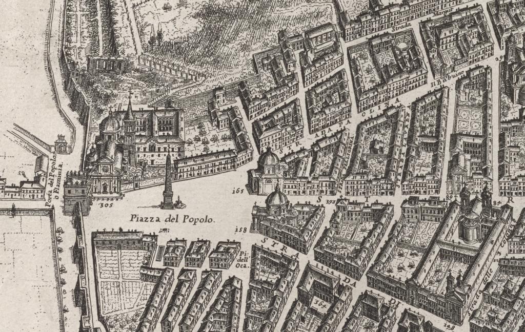 Detail of the Piazza del Popolo from Giovanni Battista Falda's 1676 map.