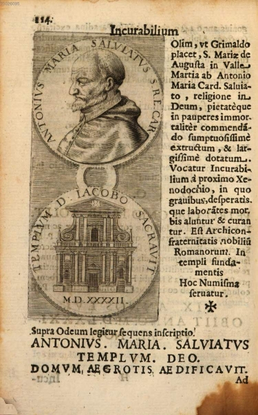 Print from Martinelli 1653 of the foundation medal of 1592.