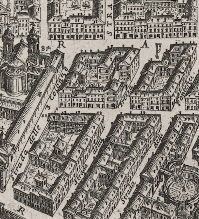 Detail of the corda near San Giacomo in Augusta from Giovanni Battista Falda's 1676 map.