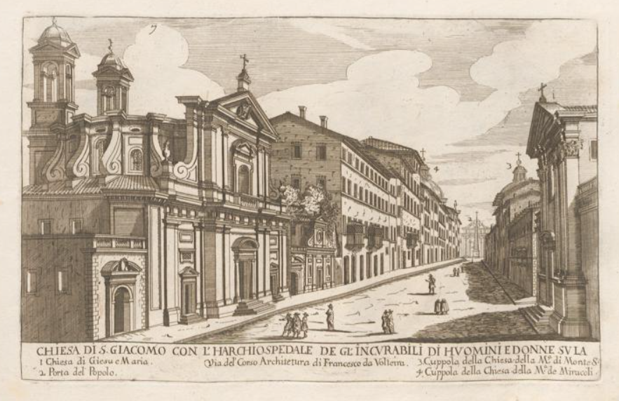 Print of San Giacomo on the via del Corso by Giovanni Battista Falda.