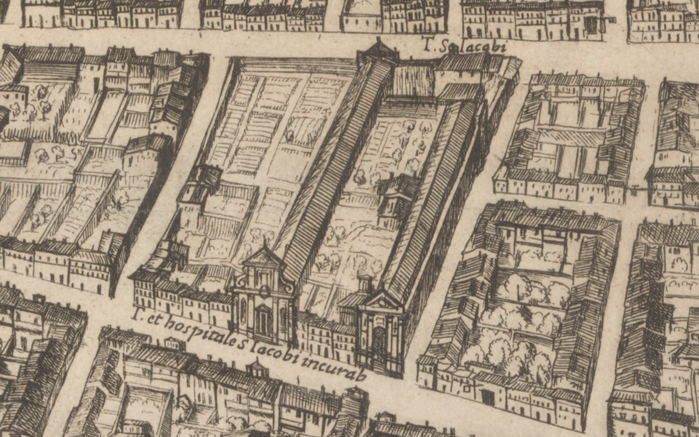 Detail from Tempesta's 1593 map of Rome.