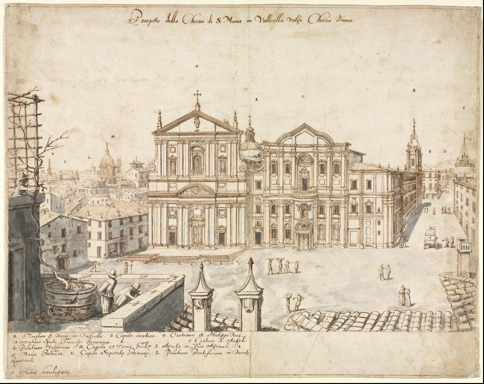 Chiesa Nuova and Oratorio dei Filippini, from Cruyl, Eighteen Views of Rome, 1664.