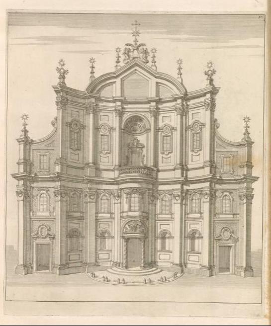 Print of the Oratory façade by Domenico Barrière (1660), published in Giannini, Opus architectonicum Equitis Francisci Borromini..., 1725.