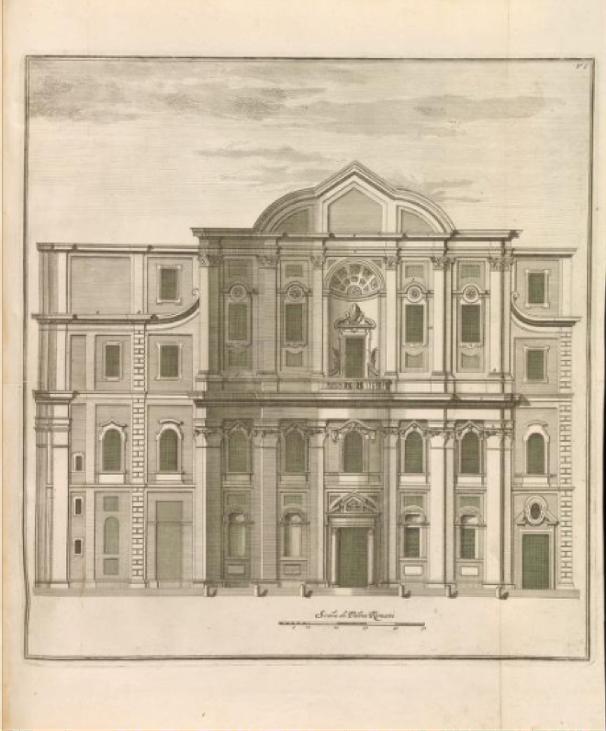 Measured print of the Oratory façade, from Giannini, Opus architectonicum Equitis Francisci Borromini..., 1725.