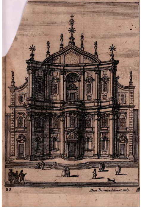 Print of the Oratory façade by Domenico Barrière after Francesco Borromini, from Martinelli, Roma ricercata nel suo sito..., 1658.