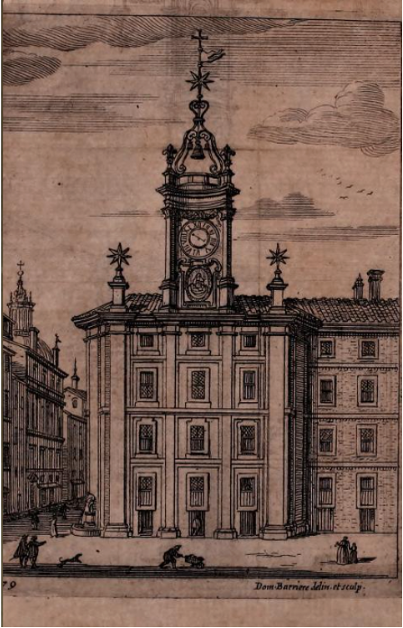 Print of the Clocktower façade by Domenico Barrière after Francesco Borromini, from Martinelli, Roma ricercata nel suo sito..., 1658.