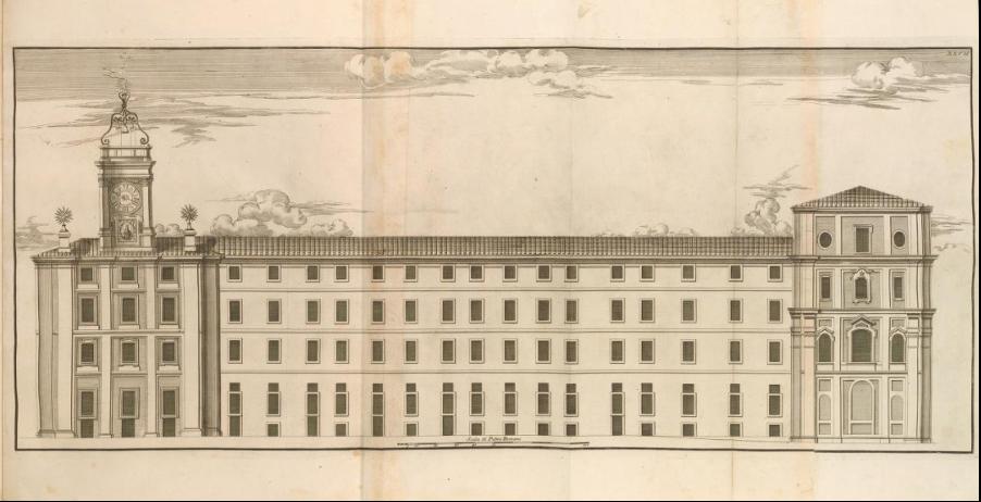 Measured print of the west façade of Casa dei Filippini, from Giannini, Opus architectonicum Equitis Francisci Borromini..., 1725.