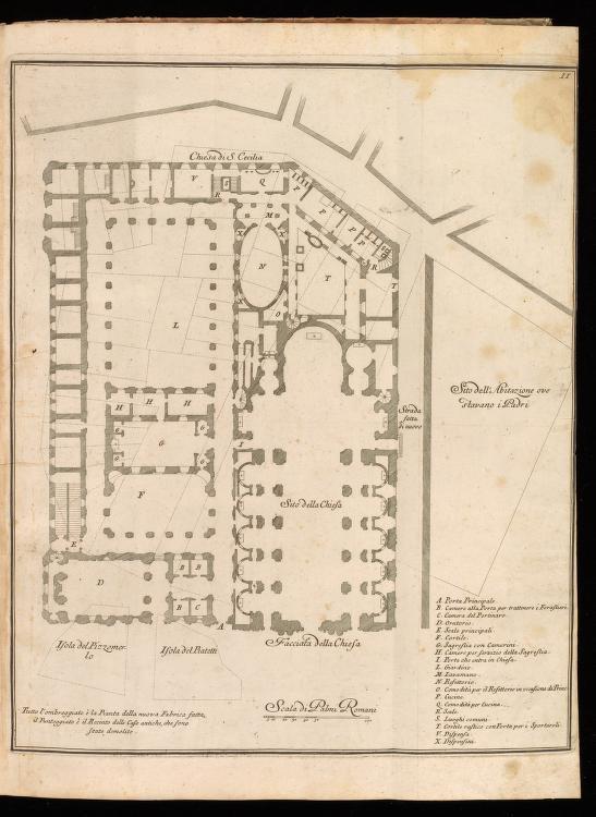 Plan of the Chiesa Nuova block, from Giannini, Opus architectonicum Equitis Francisci Borromini..., 1725.