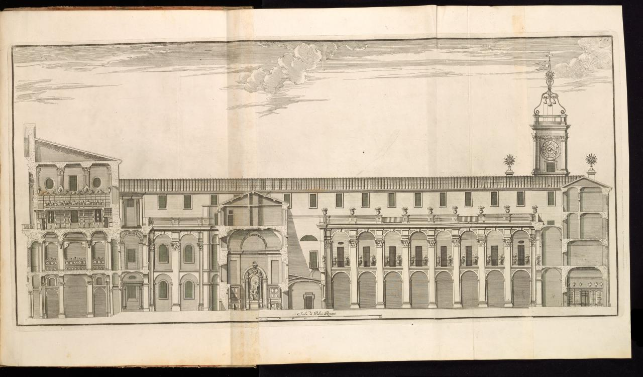 Longitudinal section of the western length of the block showing the interior elevations of both Casa dei Filippini courtyards, from Giannini, Opus architectonicum Equitis Francisci Borromini..., 1725.