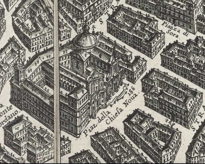 Detail of the Chiesa Nuova block from G.B. Falda, Nuova pianta et alzata della città di Roma, 1676.