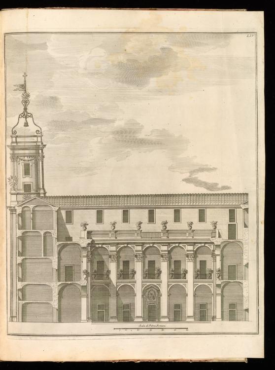 Casa dei Filippini, second courtyard, from Giannini, Opus architectonicum Equitis Francisci Borromini…, 1725.