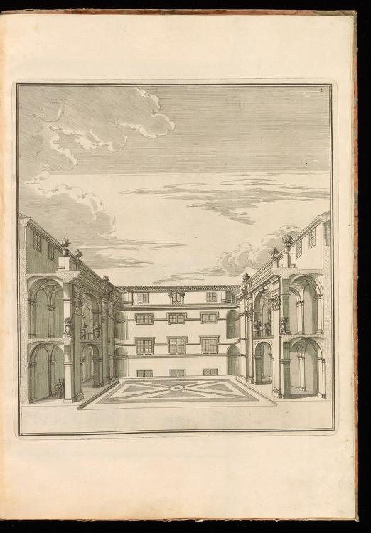 Casa dei Filippini, first courtyard, from Giannini, Opus architectonicum Equitis Francisci Borromini..., 1725.