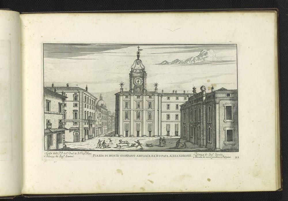 G.B. Falda, Piazza di Monte Giordano ampliata da N.S. Papa Alesandro VII, 1665.