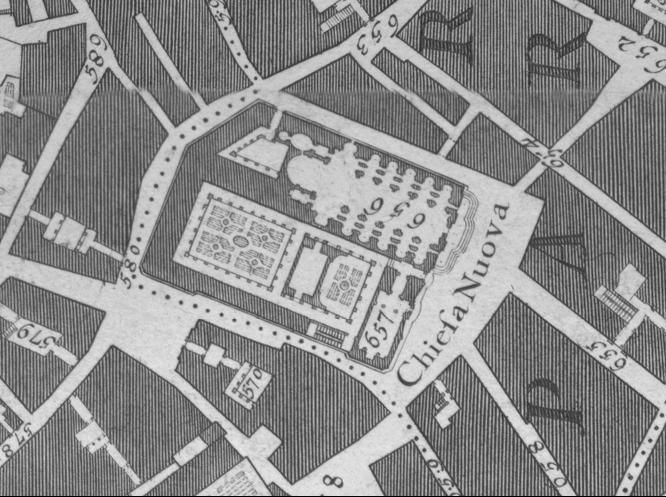 Detail of the Chiesa Nuova block from G. Nolli, La pianta grande di Roma, 1748 (Orientation manipulated to match that of Falda's 1676 map).