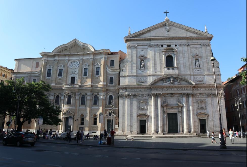 Photograph of the Oratory (left) and Chiesa Nuova, or Santa Maria in Vallicella (right).
