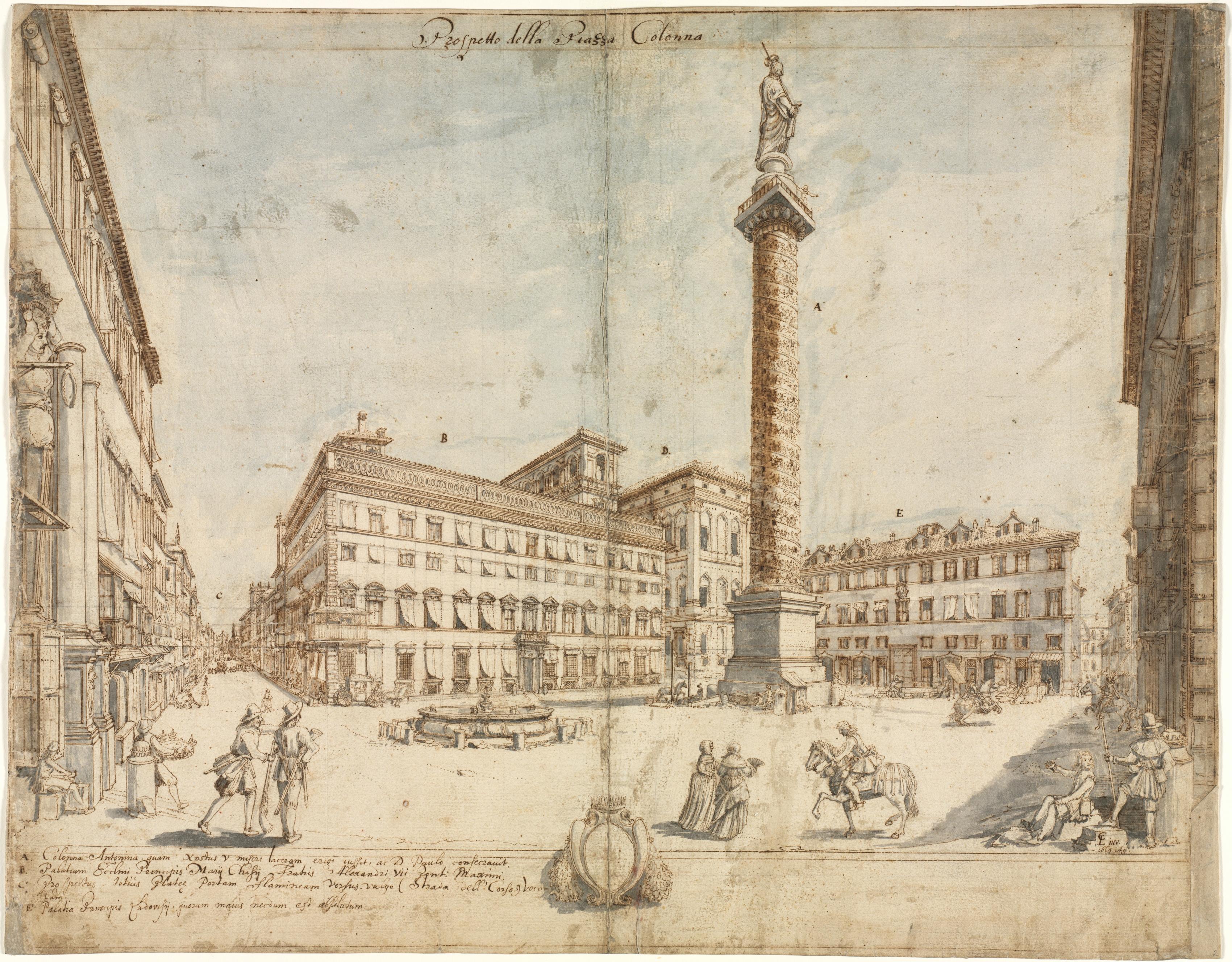 Cruyl, Lievin. Eighteen Views of Rome: Prospetto della Piazza Colonna, 1664.