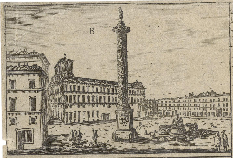 Detail of the Piazza Colonna from Falda, Giovanni Battista. Disegno delle fabriche prospettiue e piazze fatte nouamente in Roma d'ordine della sta. di N.S. Papa Alexandro VII, 1662.
