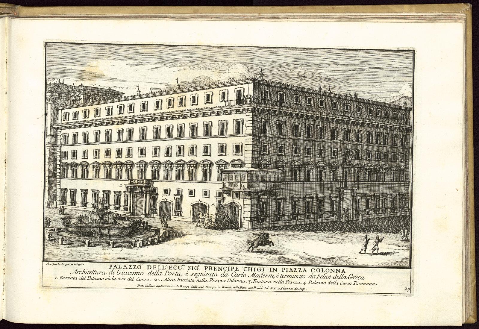 Specchi, Alessandro. Palazzo Dell'Ecc. Sig. Prencipe Chigi in Piazza Colonna, 1699.