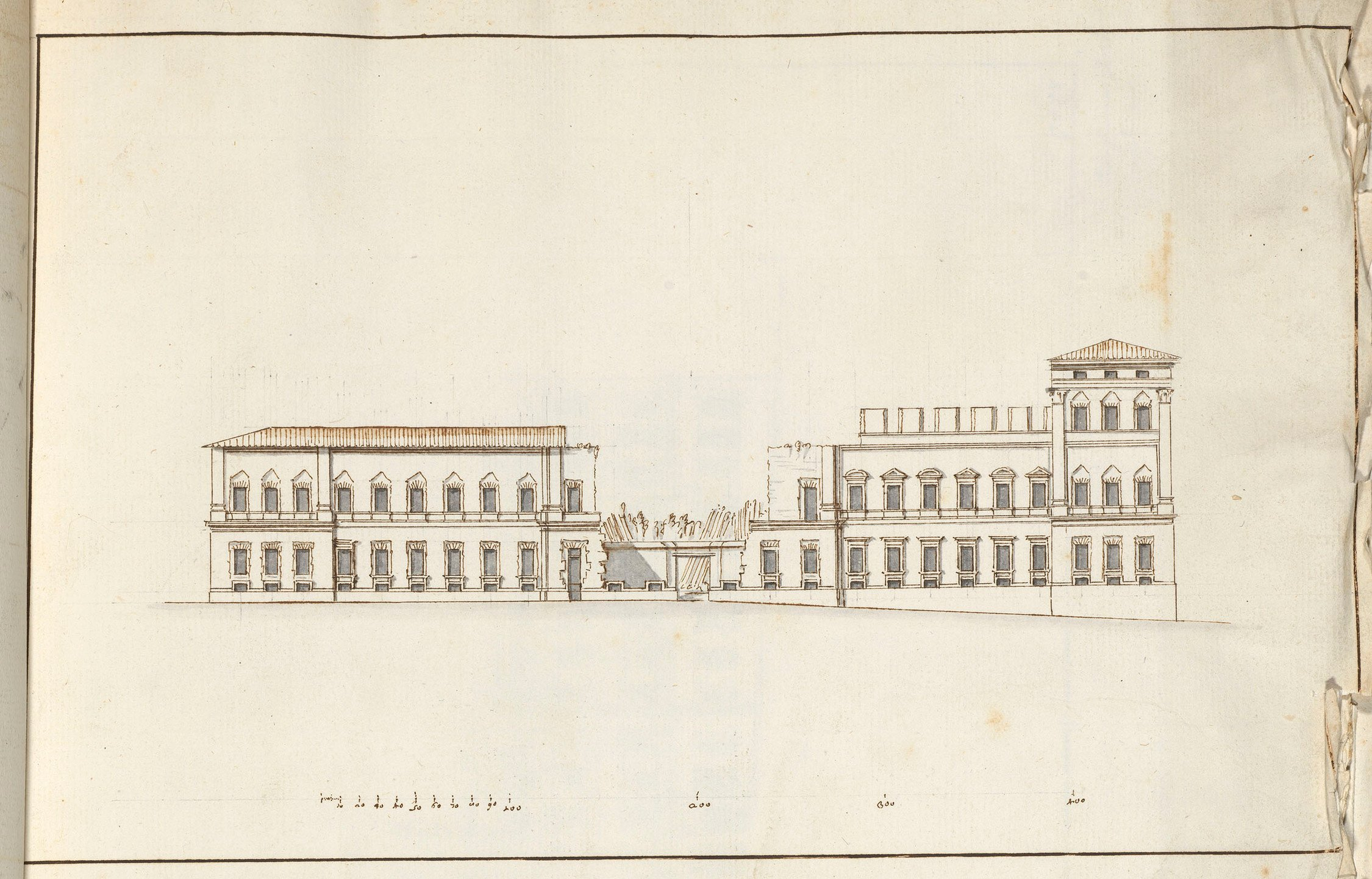 Fontana, Carlo. Elevation of a building in an unfinished state, 16--.