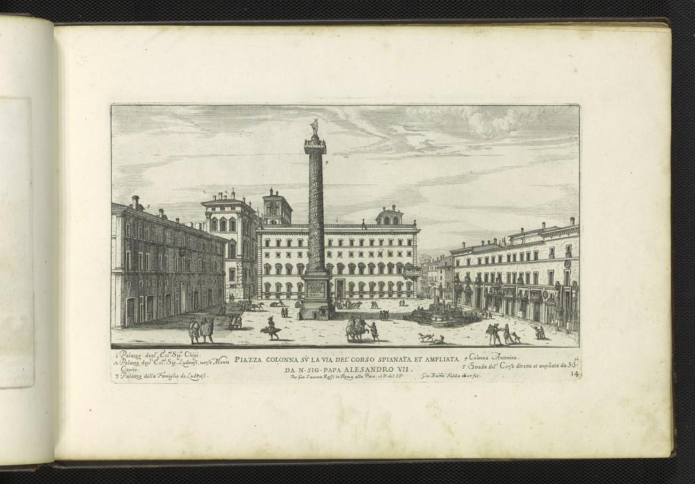G.B. Falda, Piazza Colonna su la via del Corso spianta et ampliata, 1665.