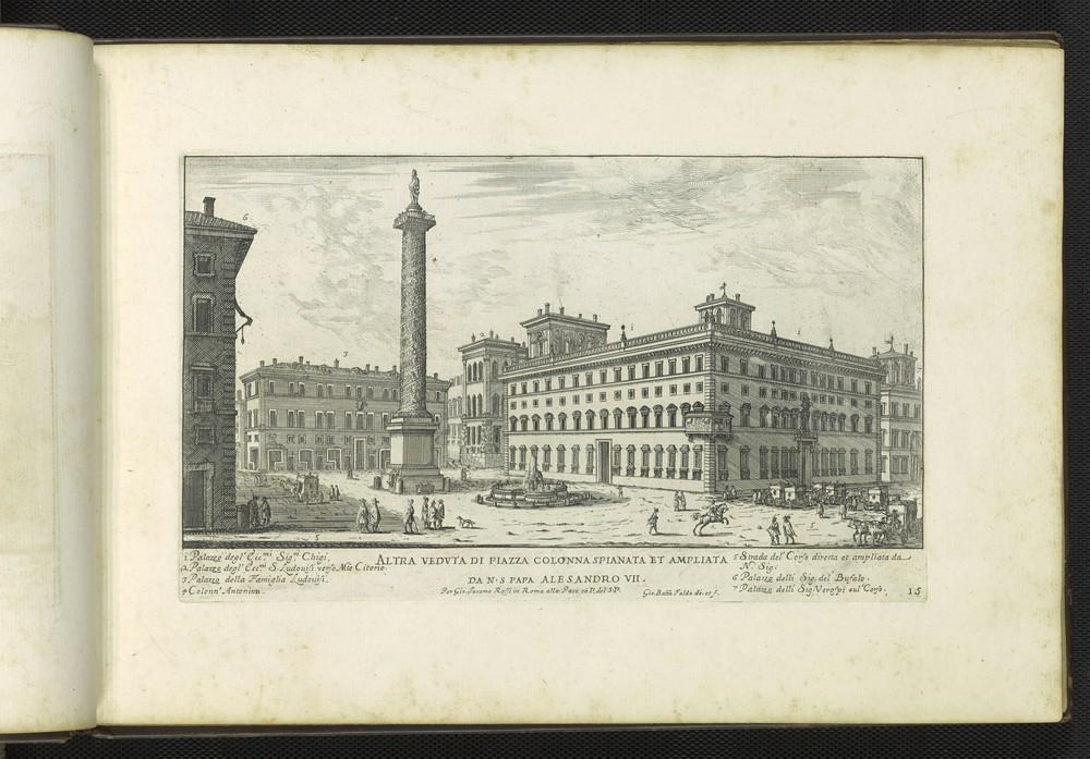 G.B. Falda, Altra veduta di Piazza Colonna spianata et ampliata, 1665.