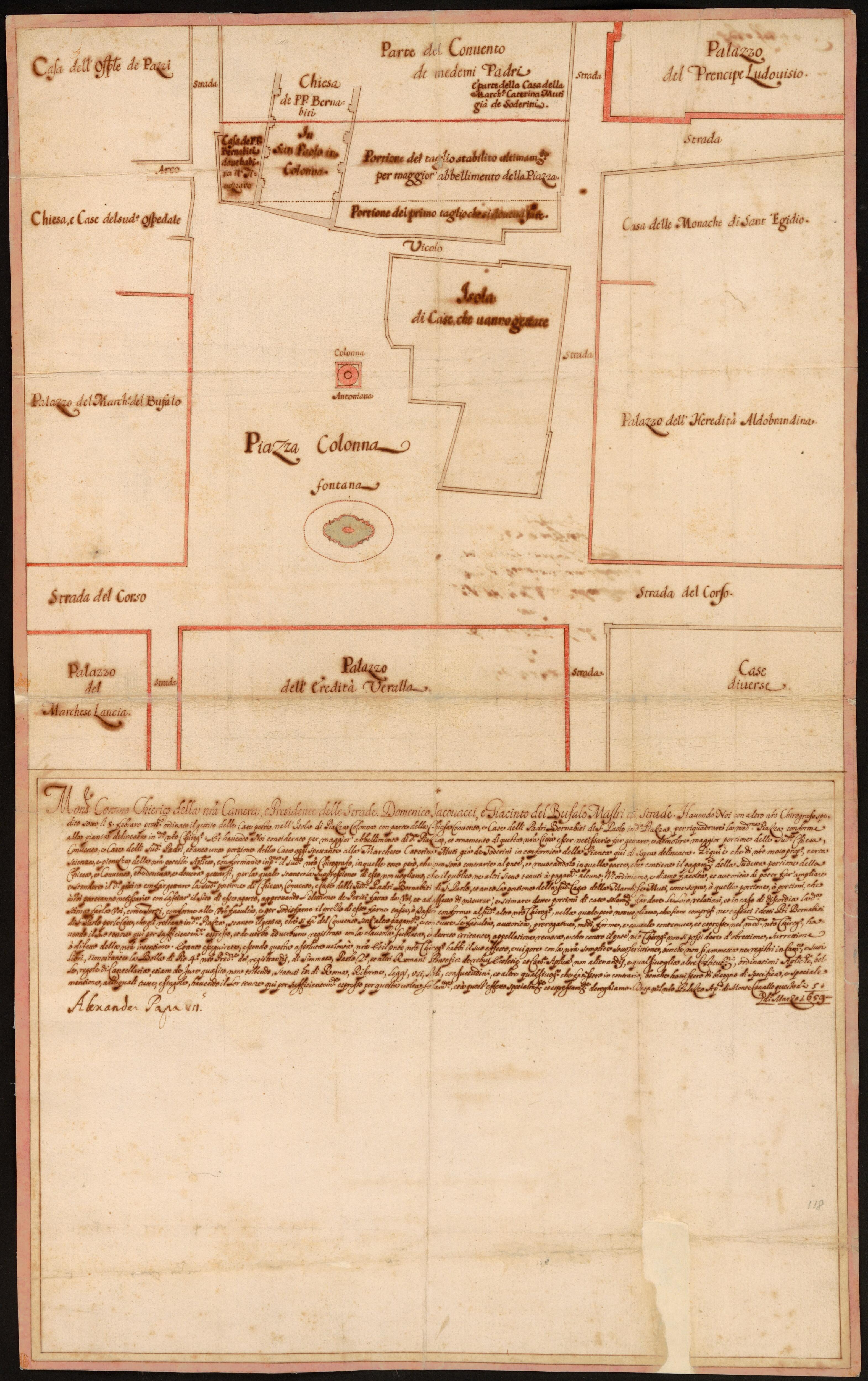 Presidenza delle strade-Chirografi. Plan of the Piazza Colonna, 1659/02/05.