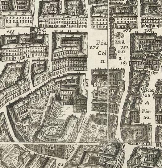 Detail of the Piazza Colonna from Giovanni Battista Falda's 1676 map.